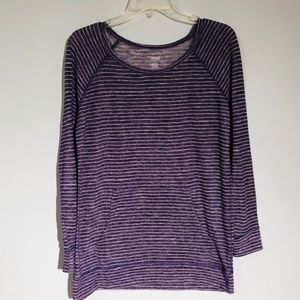 Purple Striped Long Sleeve Tee Shirt Medium EUC